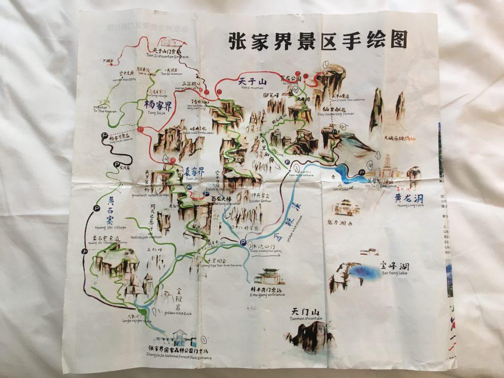 mappa del parco di Zhangjiajie