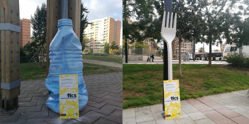 Sculture per la campagna Plastics di barcellona, città pulita e ciclabile