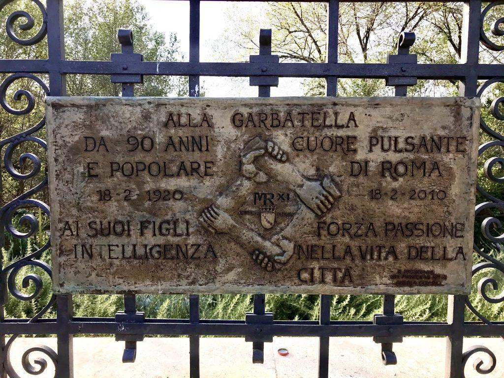targa Garbatella, a Roma uno dei 5 luoghi extra